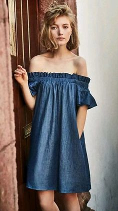 91d56b1248 #DenimDress Anthropologie Corey Lynn Calter Off Shoulder Denim Chambray  Dress Sz Small - Denim Dress
