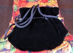 Elegant Small Black Velvet Kiss Lock Pouchette Evening Bag by La Regale #LaRegale #EveningBag