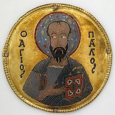 Medallion with Saint Paul from an Icon Frame Date: ca. 1100 Geography: Made in, Constantinople Culture: Byzantine Medium: Cloisonné enamel, gold Dimensions: Diam: 3 1/4 in. (8.3 cm) Mount: 20 1/2 x 15 x 7/8 in. (52.1 x 38.1 x 2.2 cm) Accession Number: 17.190.673 The Metropolitan Museum of Art