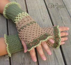 Crochet fingerless gloves, knitted mittens, autumn gloves, lace gloves, arm warmer, boho gloves, crochet mittens, hand knit green gloves