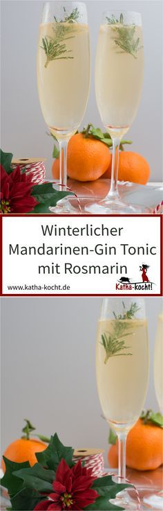 Winterlicher Mandarinen-Gin Tonic mit Rosmarin This winter aperitif is perfect for Christmas or New Year's Eve, the Advent season or just for a cold winter day. With roasted rosemary and freshly s Party Drinks, Cocktail Drinks, Cocktail Recipes, Alcoholic Drinks, Dinner Recipes, Detox Drinks, Healthy Drinks, Mandarin Juice, Tangerine Juice