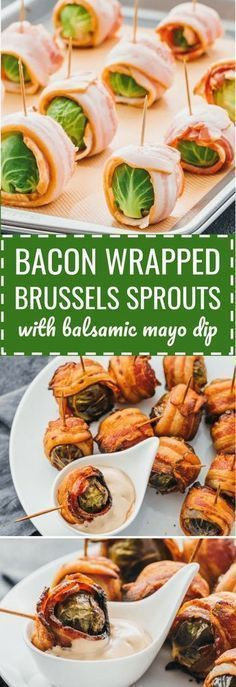 Bacon wrapped brussels sprouts with balsamic mayo dip. My favorite fall appetizers -- roasted brussels sprouts wrapped with crispy bacon slices and dipped in a balsamic vinegar and mayonnaise sauce. thanksgiving recipes / dairy free / food / roasted / oven / skewers / baked / crispy / skillet / creamy / easy / paleo / recipes / whole 30 / kabobs / gluten free / thanksgiving sides / foods / balsamic vinegar / dinners / keto / low carb / healthy / induction / meals / recipes #keto…