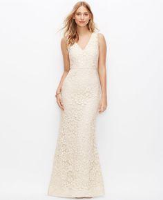 Lace V-Neck Wedding Dress. $895 Ann Taylor
