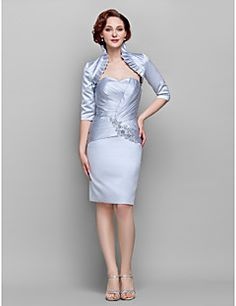 Sheath/Column Sweetheart Knee-length Satin Mother of the Bri... – USD $ 99.99