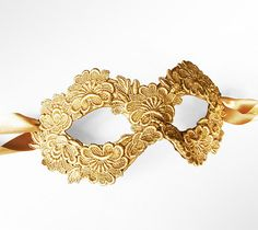 Gold Embroidery Masquerade Mask   Lace Applique by SOFFITTA