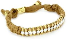 Shashi Yellow Gold-Plated with White Crystal and Nude Suede Cord Bracelet