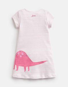 KAYE Short Sleeve Jersey Applique Dress 1-6 Yr Joules Girls, Joules Uk, Applique Dress, Pink Stripes, Short Sleeves, Tunic Tops, Dresses, Women, Fashion