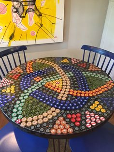 Bottle cap table. Epoxy resin. Hairpin legs. Bottle cap art!