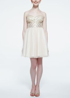 Spaghetti Strap Tulle Dress with Sequin Bodice - Champagne (Yellow), 8