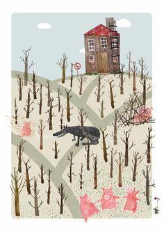 Three Little Pigs Poster, Fairy Tale, Original Illustration, Wall Decor.