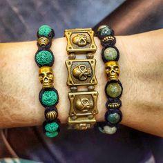 New handmade shamballa bracelets with green lava stone beads or agate stone beads with bronze skulls💚