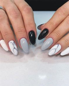 Pretty & Easy Gel Nail Designs to Copy in 2019 Gel nail designs is an artificial nail that is closest to natural nail art. The gel nail is similar Pretty Gel Nails, Cute Acrylic Nails, Cute Nails, My Nails, Black Gel Nails, Square Acrylic Nails, Long Nails, French Nails, Simple Nail Designs
