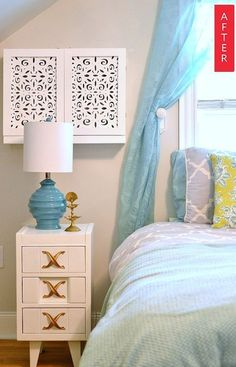 Before & After: An Adorable Air Conditioner Cover. (For the built-in swamp cooler). Window Air Conditioner Cover, Diy Air Conditioner, Ac Unit Cover, Dresser As Nightstand, Interior Design, Furniture, Apartment Therapy, Apartment Ideas, Apartment Living