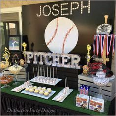 Dessert table and backdrop at a baseball birthday party! See more party ideas at CatchMyParty.com!