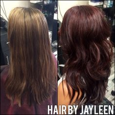 Hair by Jayleen, the Hot Seat salon, before and after, Schwarzkopf, igora royal, deep burgundy hair, brown red hair, waves, cherry chocolate hair, Schwarzkopf, igora, igora royal