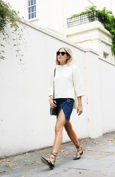 How to Wear a Denim Miniskirt Like an Adult via @WhoWhatWear