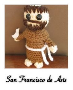 Saint Francis of Assisi – By Philae Artes Please, do not sell this pattern (I hope you sell the amigurumi). It was made by me and I want it free…always! I'm sorry about my english. I'm from Brazil. Francis Of Assisi, St Francis, Jack Skellington, Amigurumi Patterns, Crochet Patterns, Crochet Ideas, Amigurumi Tutorial, Amigurumi Toys, Crochet Projects
