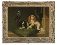 Toy Cavalier King Charles Spaniel | ... KING CHARLES SPANIELS AND A PARROT - oil on canvas 25 by 32 3/4 in. 63