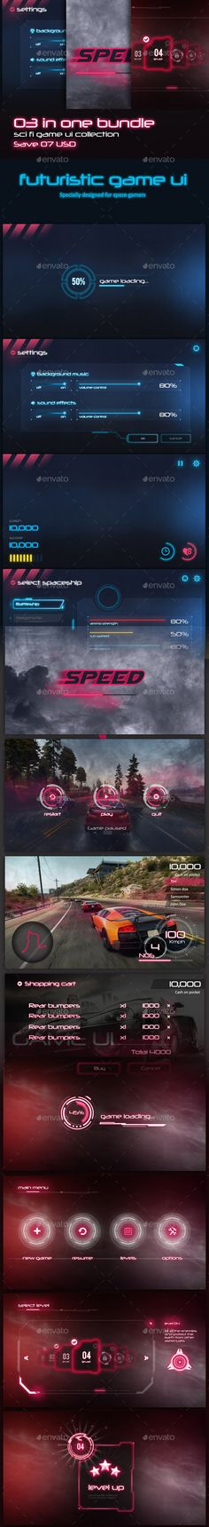 3 in 1 Sci-fi Game UI Bundle - #User Interfaces #Game Assets Download here: https://graphicriver.net/item/3-in-1-scifi-game-ui-bundle/19762579?ref=alena994