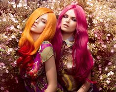Schilder & Korintenberg, hair, hair color, multi-colored hair, tips, orange, orange hair, red, red hair, pink, pink hair