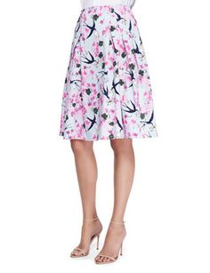 CAROLINA HERRERA Sparrow Love Letter And Floral Print Party Skirt