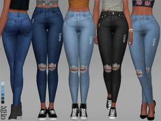 The Sims Resource: High Waisted Ripped Jeans by Margeh-75 • Sims 4 Downloads