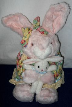"""Rabbit Mother with Baby Bunny Plush Toy, 20"""" Tall by Commonwealth Toys. Mother Rabbit is Wearing a Cotton Dress & Bow. Manufactured in 1999. #Bunnies #CommonwealthToys"""