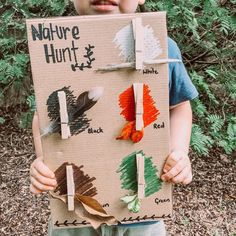 Love this DIY nature hunt board! So clever and fun 💗 Heidi @the_harmony_tree_house #Repost @themakermum • • • • • Here is a simple nature… Forest School Activities, Nature Activities, Toddler Learning Activities, Montessori Activities, Preschool Activities, Diy For Kids, Crafts For Kids, Nature Hunt, Reggio Emilia