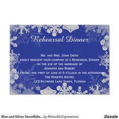 Blue and Silver Snowflake Wedding Rehearsal