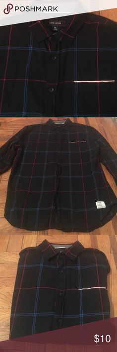 Adam Levine Shirt Long sleeved, size Medium Men's Adam Levine shirt. Black with blue and red accents. Super trendy. Adam Levine Shirts Casual Button Down Shirts