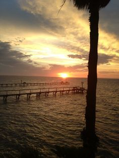 Sunset over the docks in Rockport, Texas