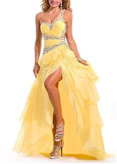 Amazing Organza & Satin A-line One Shoulder Ruffled High Low Prom Dress With Beadings #Dressilyme