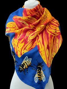 Hand painted silk scarf-yellow flower  and beePaintingHand