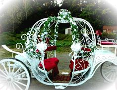 This Cinderella Carriage was transformed. Newly painted and covered with whit flowers and bows. The clients really loved this. This is the carriage that serves new york area
