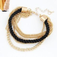 Gold Chain Braided Rope Multilayer Bracelets
