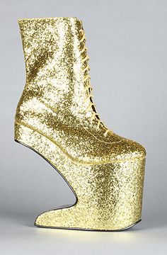 The Chablis Shoe in Gold Glitter