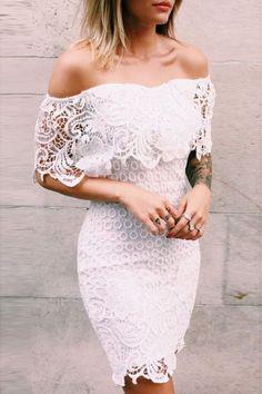 White Lace Off Shoulder Dress by Caroline Receveur & Co Shower Outfits, Shower Dresses, Vestidos Sexy, Bohemian Mode, Estilo Boho, Little Dresses, Mode Inspiration, The Dress, Short Prom Dresses