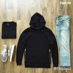 Today's top #outfitgrid is by @ajc.94. ▫️#Zanerobe #Tee ▫️#JohnElliottCo #Hoodie ▫️#SaintLaurent #Denim & #Shoe