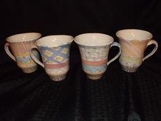 4-Mackenzie Childs Pottery Mugs PASTEL*Aalsmeer-Stoke Gabriel*Summer Frock*Iris