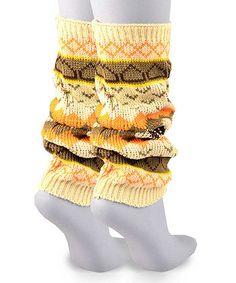Oatmeal & Orange Geometric Leg Warmers
