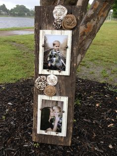 Barnwood Double Picture Frame with Rosettes  by JMacDesignFrames, $50.00