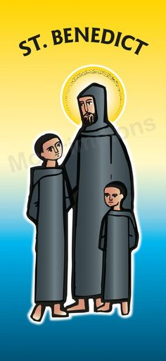 Youngest disciple of St. Benedict: St. Placid - 5 October #FeastDay #SaintsDay shown here with his older brother St. Maur and St. Benedict - Banner BAN774