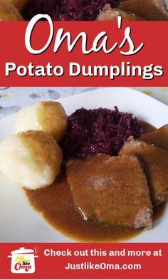 Create your own delicious dumplings just like Oma's! Maybe even better! Potato Dumplings German, German Potatoes, Lithuanian Recipes, German Recipes, Traditional German Food, German Baking, Oktoberfest Food, Dumpling Recipe, Christmas Dishes