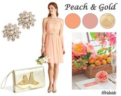 Peach and Gold Wedding Color Inspiration Orange Wedding Themes, Gold Wedding Colors, Orange Bridesmaid Dresses, Wedding Bridesmaids, Wedding Dresses, Color Inspiration, Wedding Inspiration, Wedding Ideas, Strapless Dress