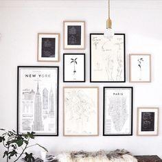"""My kind of gallery wall #frames #gallery #gallerywall #decor #decorations #design #interiordesign #designinspo #moderndesign #prints #bulb #edisonbulb…"""