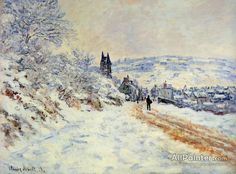 Claude Monet The Road To Vetheuil, Snow Effect oil painting reproductions for sale