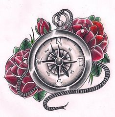Compas by Kirzten on DeviantArt Compass Tattoo Drawing, Tattoo Shading, Compass Tattoo Design, Tattoo Ink, Watch Tattoos, Up Tattoos, Foot Tattoos, Future Tattoos, Tatoos