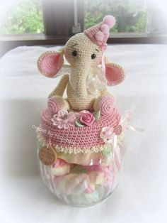 Crochet Jar Covers, Crochet Elephant, Baby Knitting, Knit Crochet, Coasters, Pokemon, Crafts, Decorated Jars, Crochet Dolls