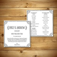 Printable Wedding Program Template  Square Format  by birDIYdesign, $8.00