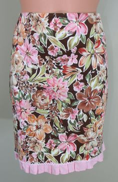 Cato Size 8 Pink Multi-Color Floral Brown Background Below Knee Length Skirt LN #Cato #ALine